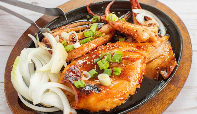 Korean fried squid. Seafood Grilled octopus royalty free stock photography