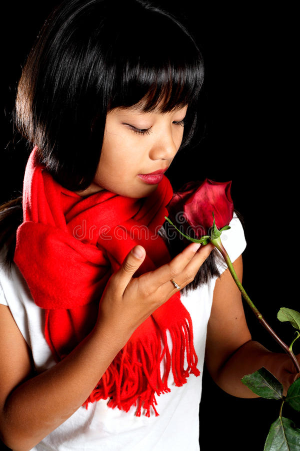 Korean girl with a rose royalty free stock image