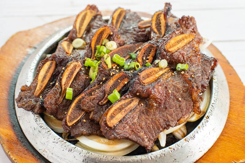Korean Grilled Beef Ribs. BBQ Ribs stock images
