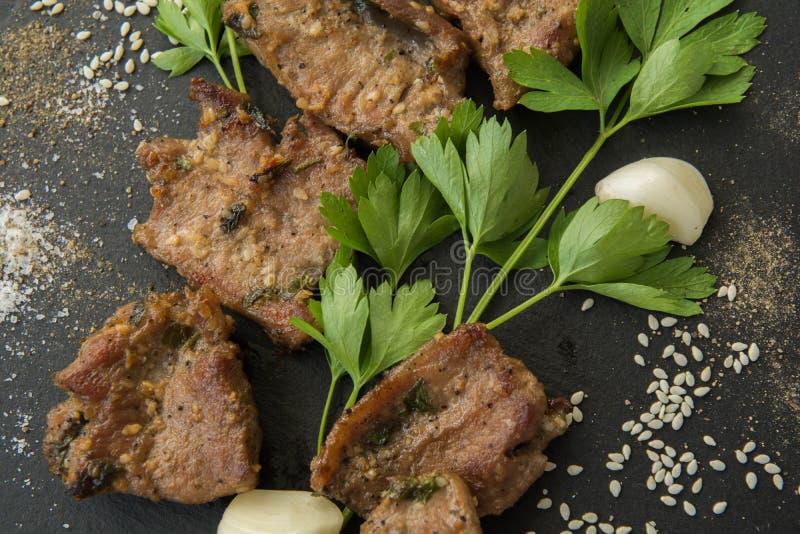 Korean grilled meat, bulgogi, barbecue meat. Top view stock photos