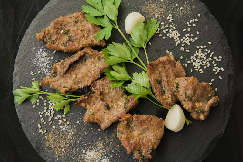 Korean grilled meat, bulgogi, barbecue meat. Top view royalty free stock images