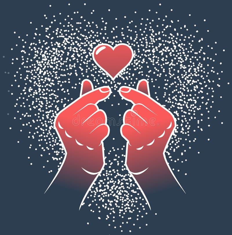 Korean love sign gesture finger heart vector illustration
