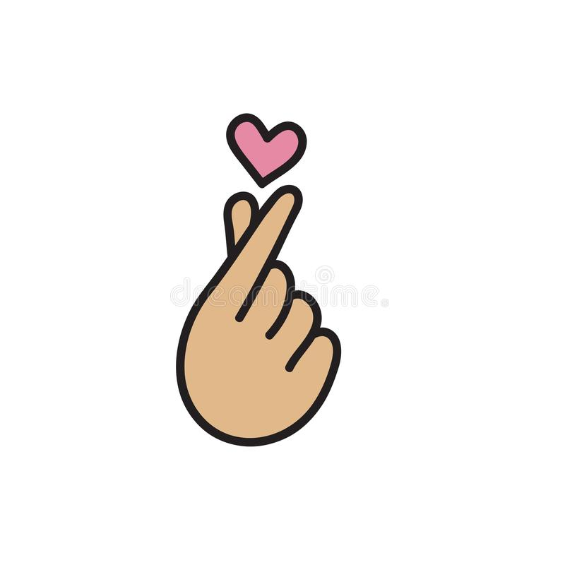 Korean heart, love symbol. Fingers make small heart, love icon, flying heart. Vector illustration vector illustration