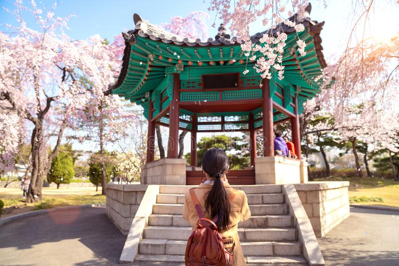Korean lady travel and take camera for Pavilion in Seoul National Cemetery stock photography