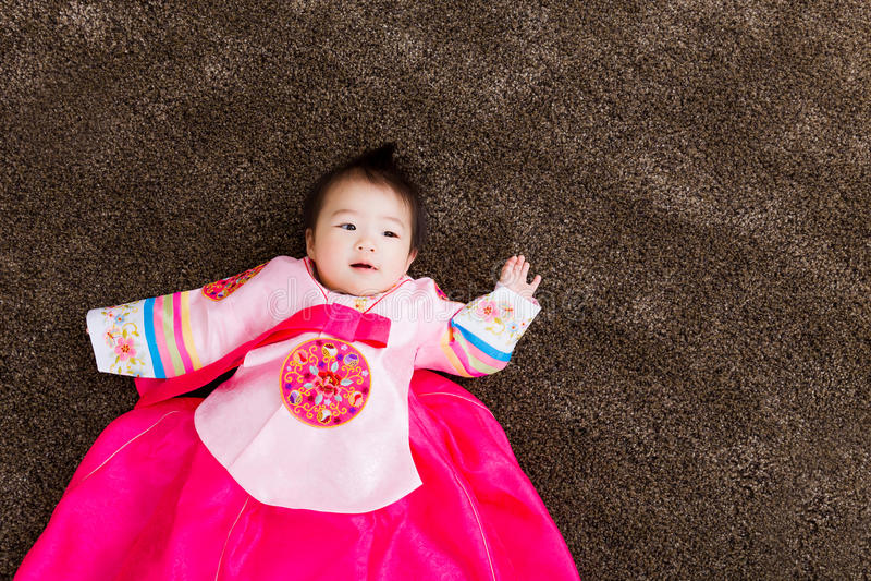 Korean little baby girl royalty free stock images