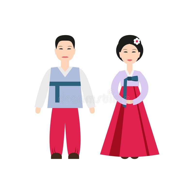 Korean National Costumes icon on the white background. royalty free illustration