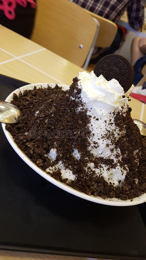 Korean Oreo Bingsu royaltyfria foton