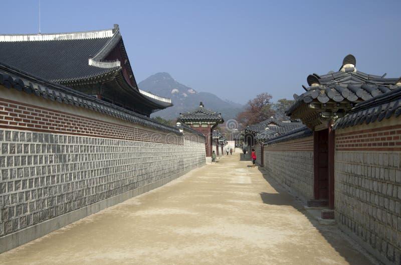 Korean Palace architecture Gyeongbokgung royalty free stock images
