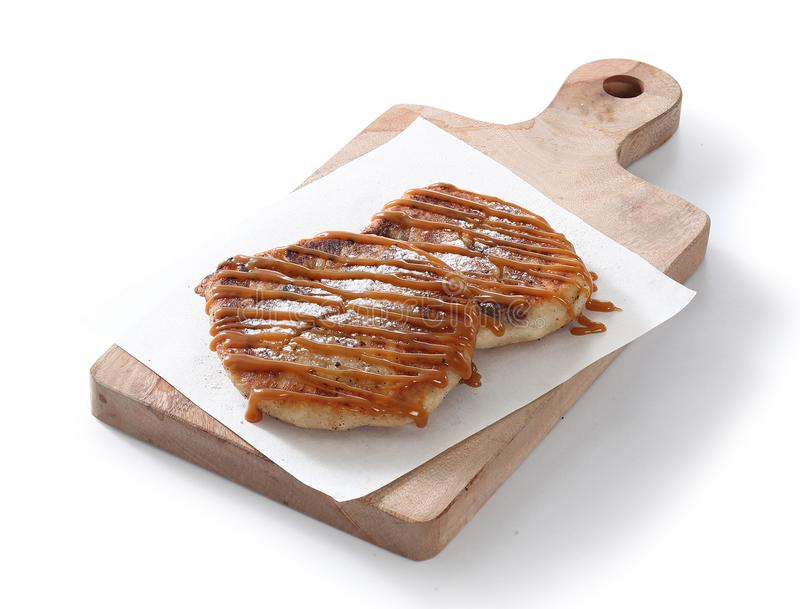 Korean pancake. On white background royalty free stock photography