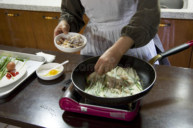 Korean pancake making lesson stock photos