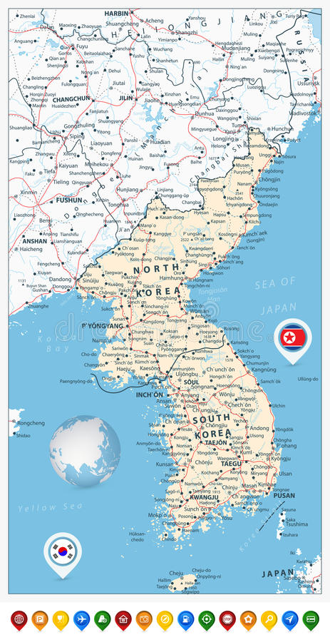 Korean Peninsula Road Map And Map Pointers North And South Kore