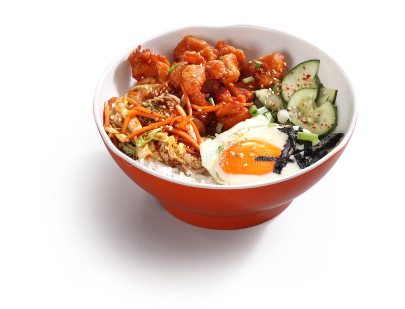 Korean pork bowl with egg stock photos