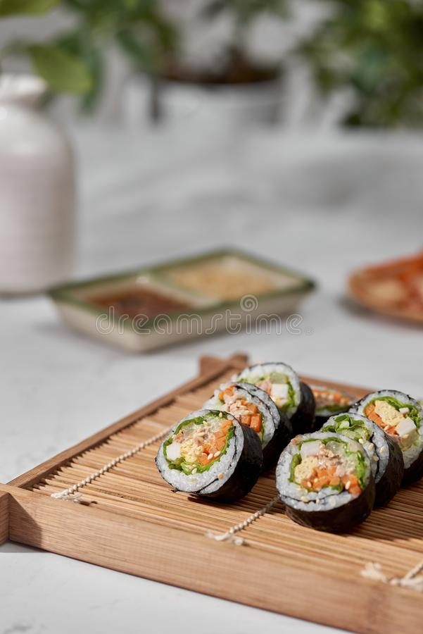 Korean roll Gimbapkimbob made from steamed white rice bap and various other ingredients stock images