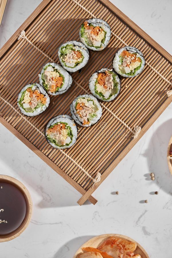 Korean roll Gimbapkimbob made from steamed white rice bap and various other ingredients stock photo
