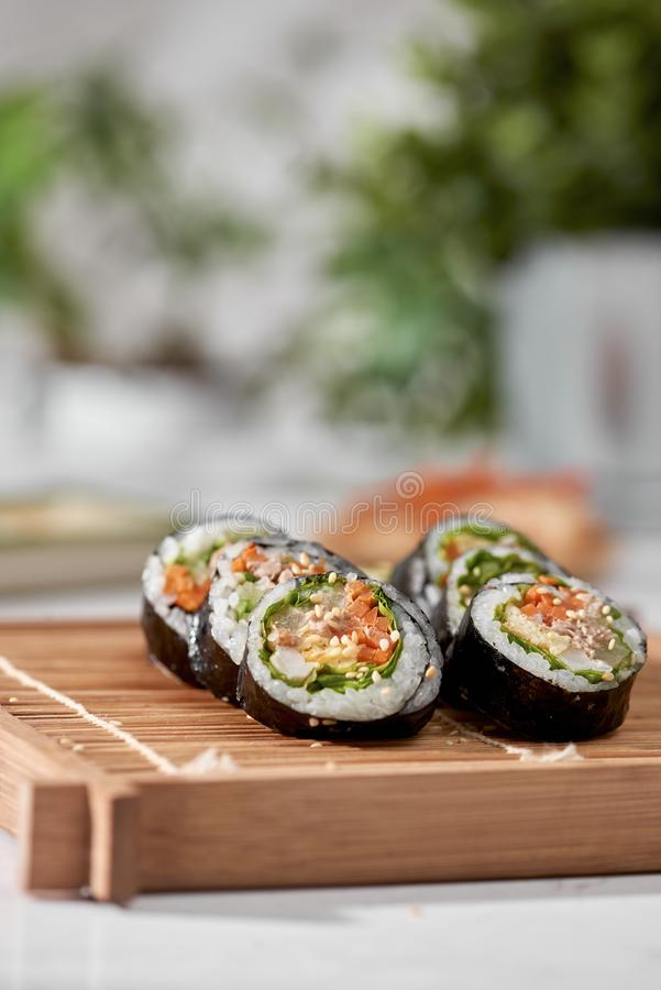 Korean roll Gimbapkimbob made from steamed white rice bap and various other ingredients royalty free stock photography