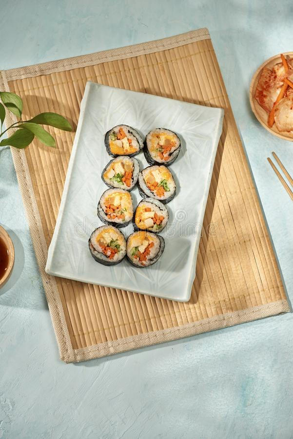 Korean roll Gimbapkimbob made from steamed white rice bap and various other ingredients royalty free stock images