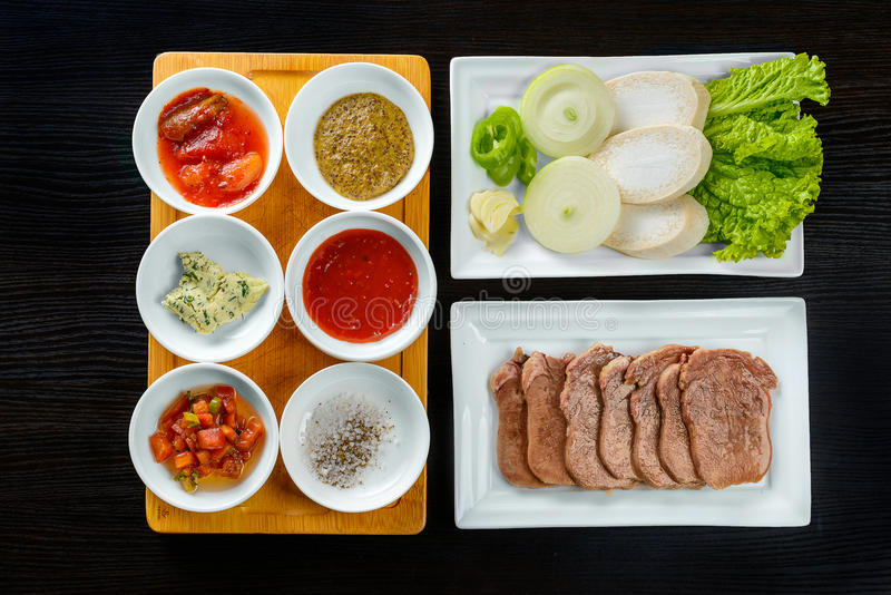 Korean sauces and condiments. Top view of Korean sauces and condiments stock photos