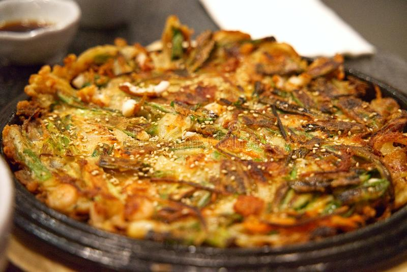 Korean Seafood Pancake or Haemul Pajeon stock photos