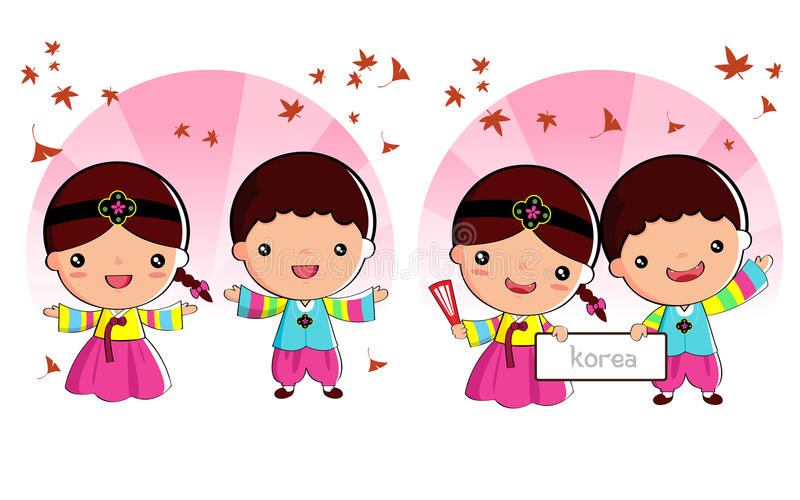 Korean set royalty free illustration