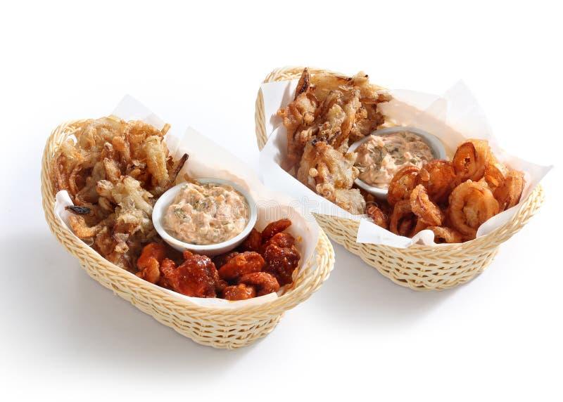Korean snacks on baskets. On white background royalty free stock photography