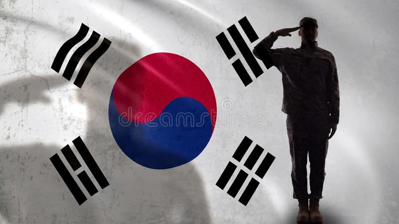 Korean soldier silhouette saluting against national flag, military operation royalty free stock photography
