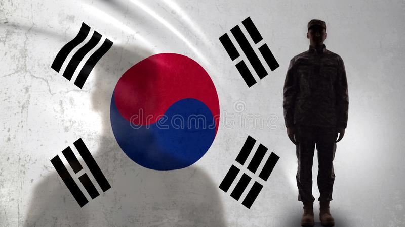 Korean soldier silhouette standing against national flag, proud army sergeant royalty free stock image