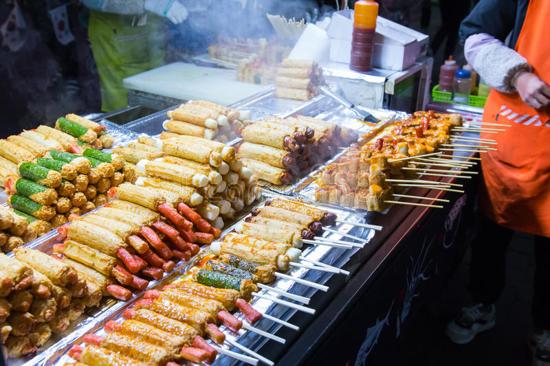Korean street food. At Myeong-Dong night market, many meat ball skewers look delicious stock photos