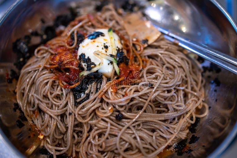Korean style cold noodle - Makguksu. Popular Korean style cold noodle - Makguksu stock photography