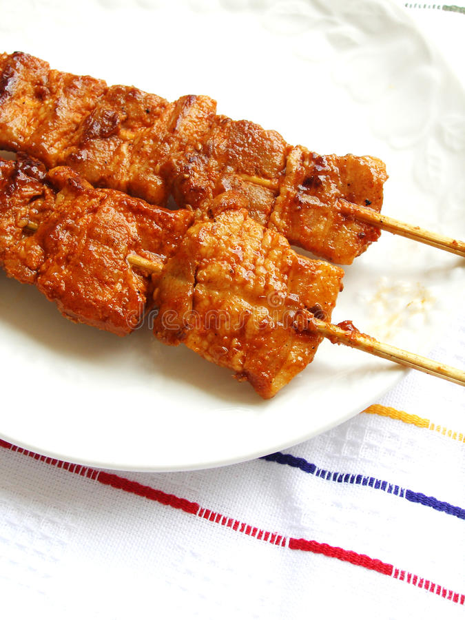 Korean style meat kebabs cuisine royalty free stock photography