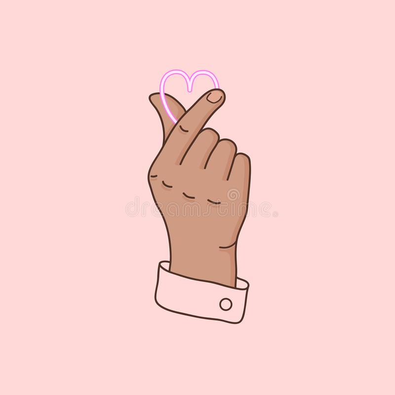 Korean symbol hand heart. Finger gesture - love you. Love sign. Vector illustration in flat style. Cute element on pink background stock illustration