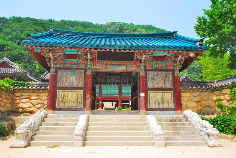 Korean temple architecture stock photo