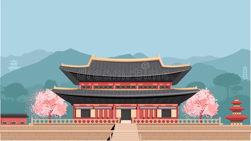 Korean Temple with mountains. Korean Temple. Flat vector colorful illustration. Asian Temple royalty free illustration