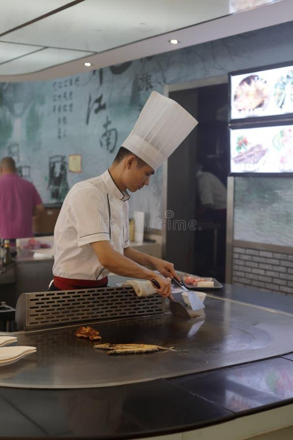 Korean teppanyaki chef royalty free stock photo