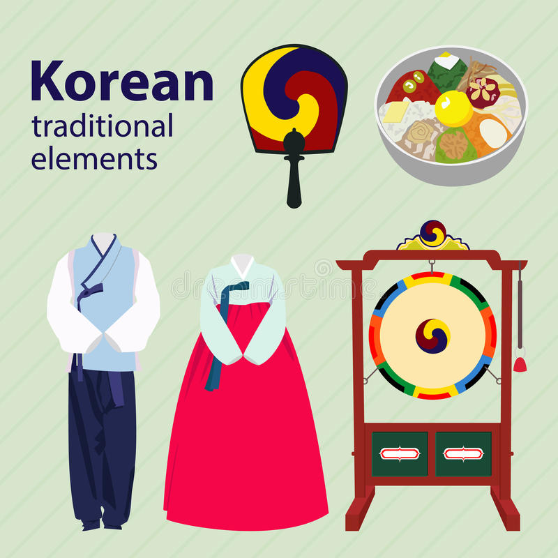 Korean traditional elements vector set. Drum clothes fan royalty free illustration