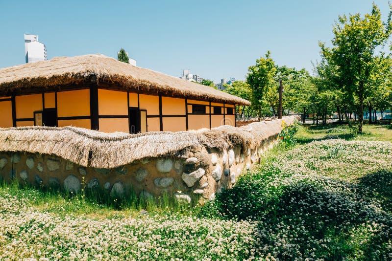 Korean traditional house in Bucheon Sangdong Lake Park. Korea royalty free stock images
