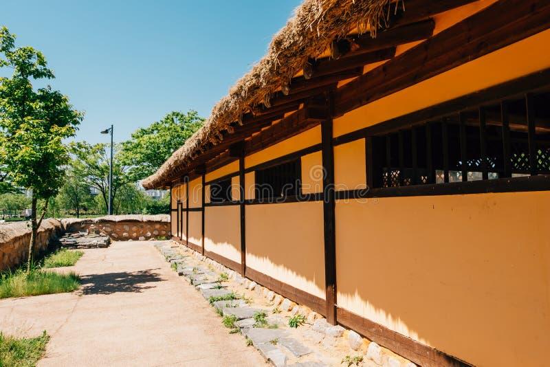 Korean traditional house in Bucheon Sangdong Lake Park. Korea royalty free stock photography