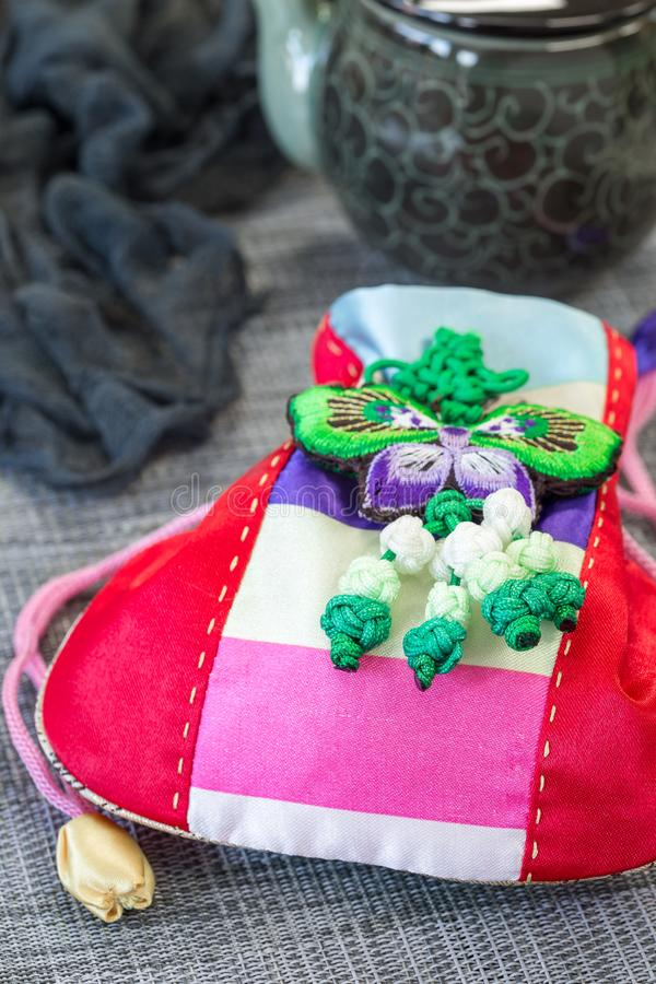 Korean traditional new year& x27;s lucky bag on grey background stock photo