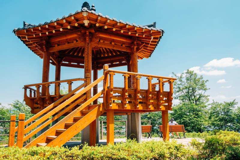Korean traditional pavilion at Wangsong Lake park in Uiwang, Korea. Asia royalty free stock photo