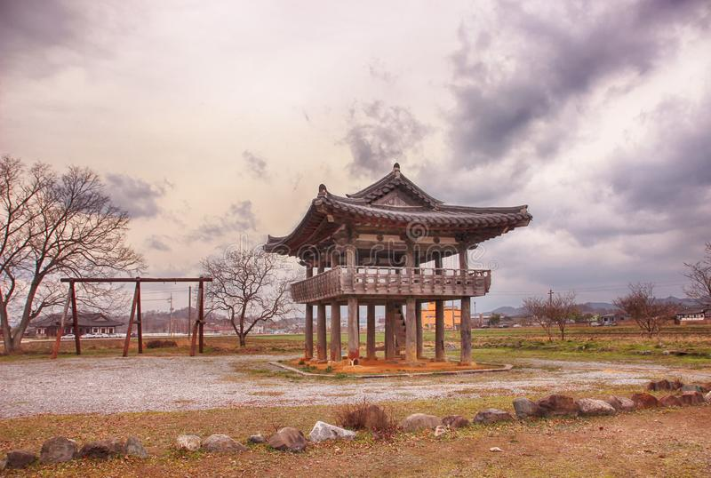 Korean Traditional Pavillion in Slow City Changpyeong, Damyang, Jeonnam, South Korea, Asia.  stock photos