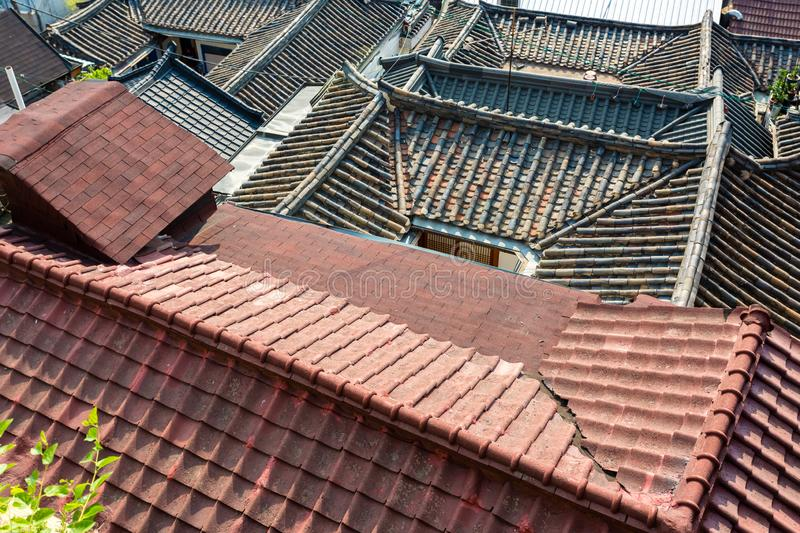 Korean traditional roofs of houses, top view. Seoul, South Korea stock images