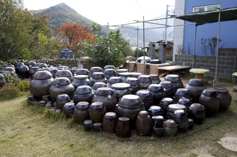 Korean village house front yard jars tradition sauces stock image