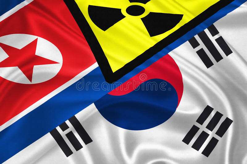 Korean War. Flag of South and North Korea waving with highly detailed textile texture pattern representing the Conflict between Koreas royalty free illustration