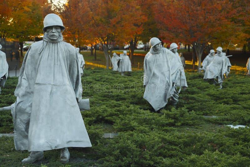 Korean War Veterans Memorial Statues stock images