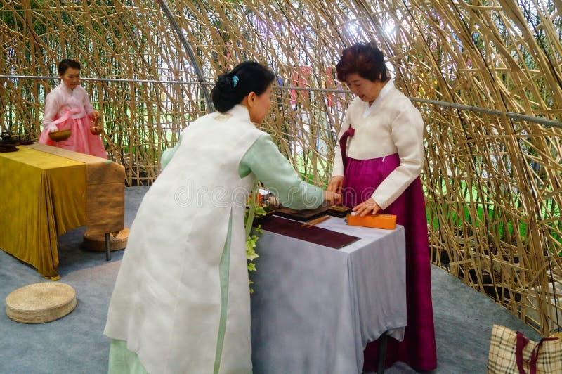 Korean women. In Shenzhen tea industry expo, as tea exhibitors staff. In Shenzhen, china stock photography