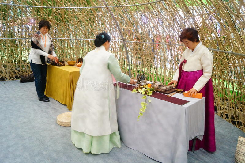 Korean women. In Shenzhen tea industry expo, as tea exhibitors staff. In Shenzhen, china royalty free stock photography