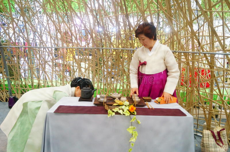 Korean women. In Shenzhen tea industry expo, as tea exhibitors staff. In Shenzhen, china stock photo