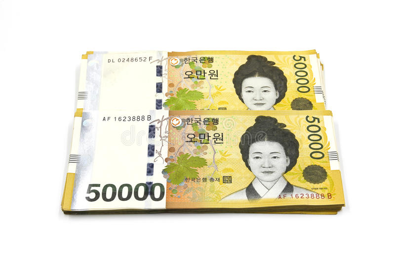 Korean Won currency bills. Isolated on white background stock photography