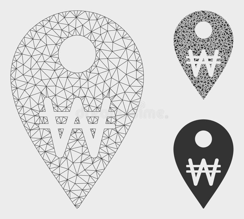 Korean Won Map Marker Vector Mesh 2D Model and Triangle Mosaic Icon. Mesh Korean Won map marker model with triangle mosaic icon. Wire carcass triangular mesh of stock illustration