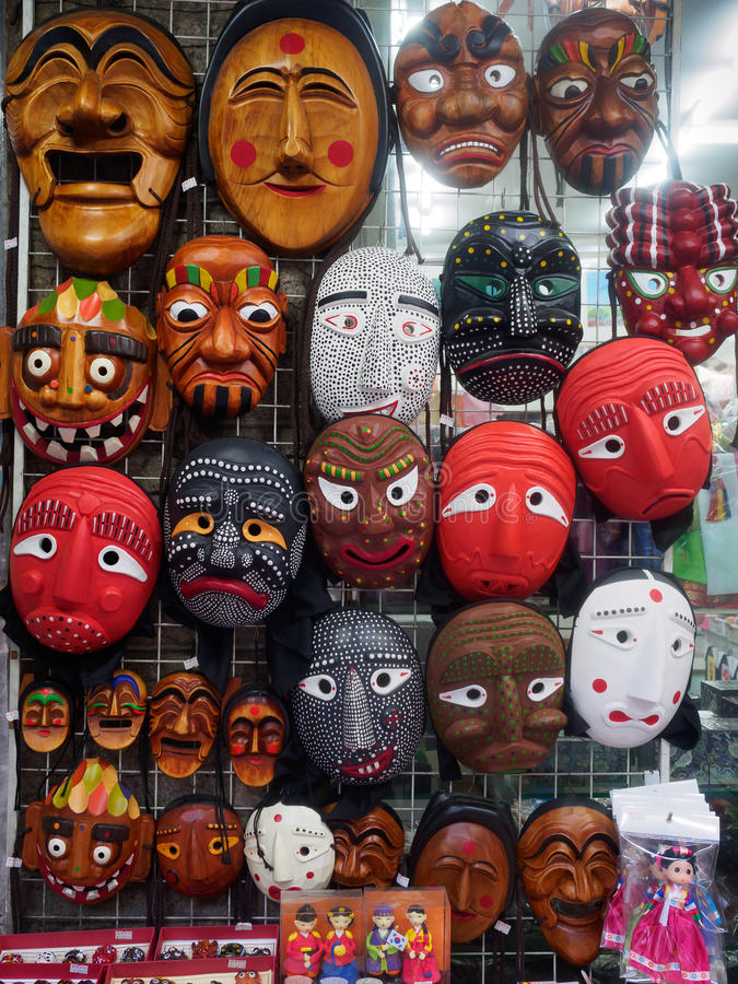 Korean wooden masks royalty free stock photos