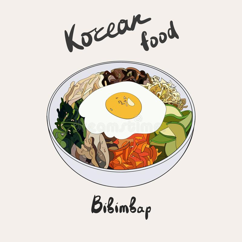 Koreanischer traditioneller Teller des Bibimbap mit Spiegelei lizenzfreie abbildung